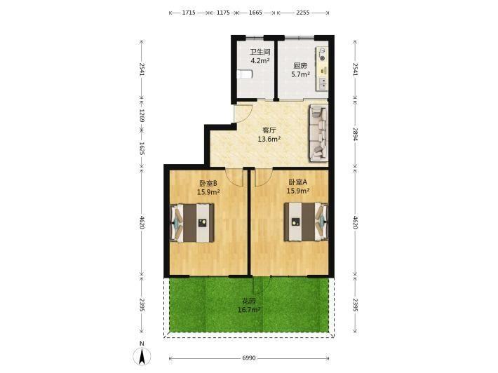 急售 三橋楓丹白鷺精裝2居室 戶型正 采光好 首付18萬