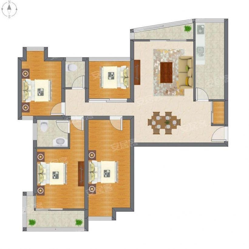 业主急售 仙林地铁口 亚东城126平米小四房 双卫 看房方便