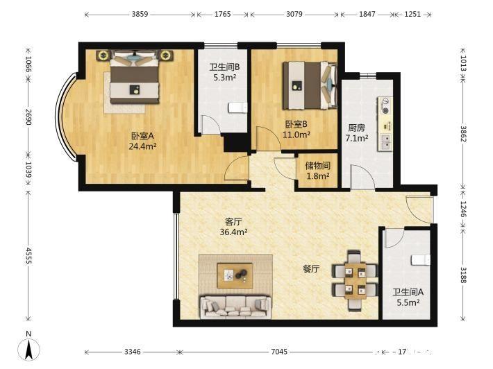 田德,精裝 3房現改的2房 格局方正 采光好 僅賣的160萬