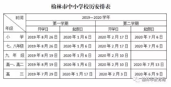 府谷家长注意啦!榆林市中小学2019-2020学年放假时间表!详情戳开看!