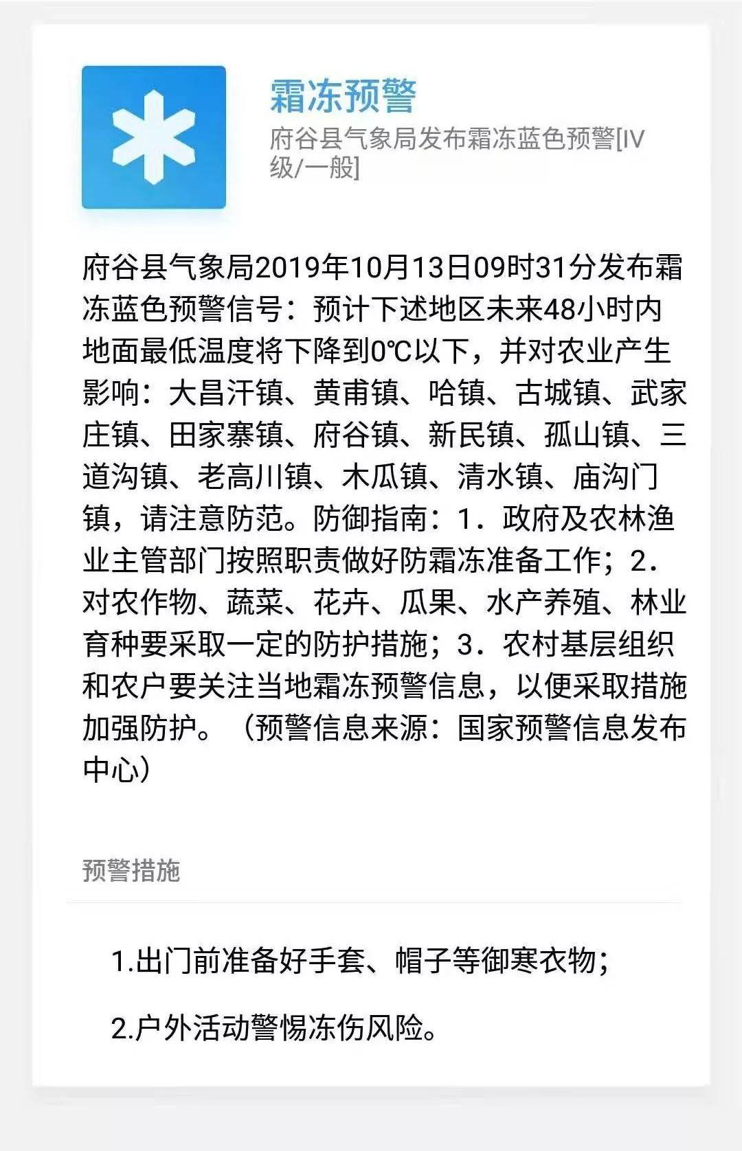 府谷县气象局发布霜冻蓝色预警,下述地区地面最低温度将下降到0℃以下,请注意防范!