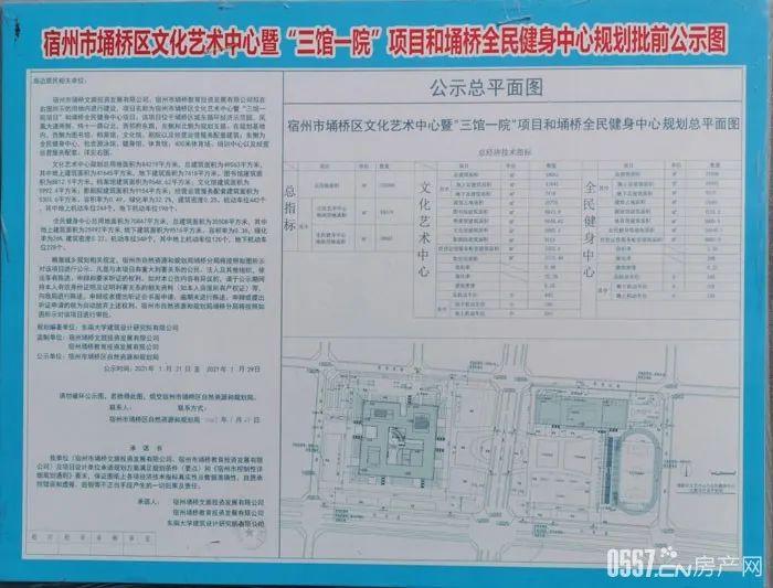 """宿州市��桥区文化艺术中心暨""""三院一馆""""项目和��桥全民健身中心规划批前公示"""