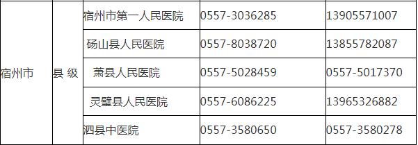 宿州市新型冠状病毒感染的肺炎医疗救治定点医院名单及联系方式