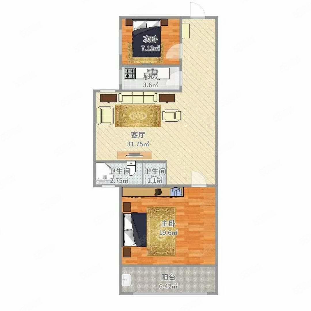 曼哈頓2室可貸款86平64萬車位另算