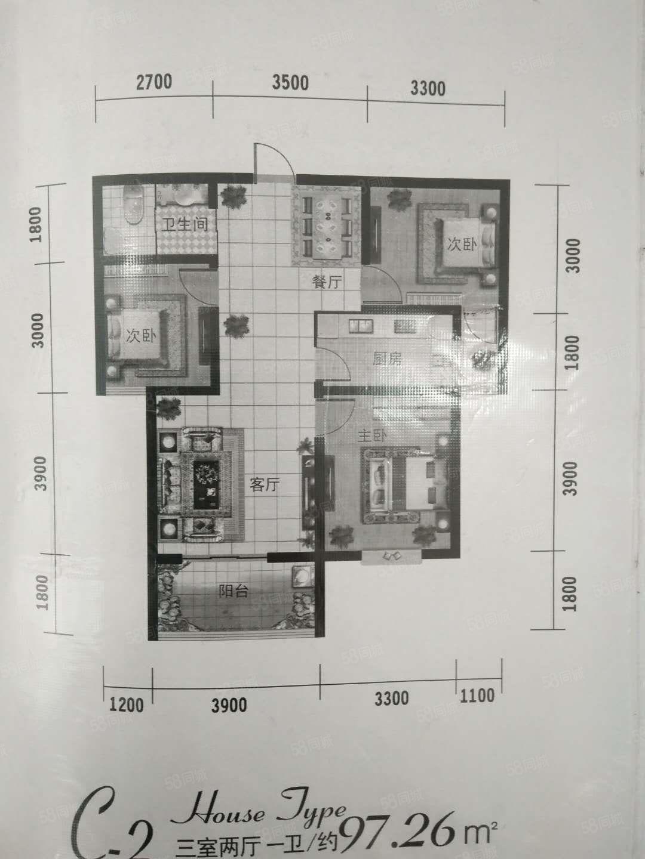 领秀豪庭97平三室全套家具家电精装修月租1300