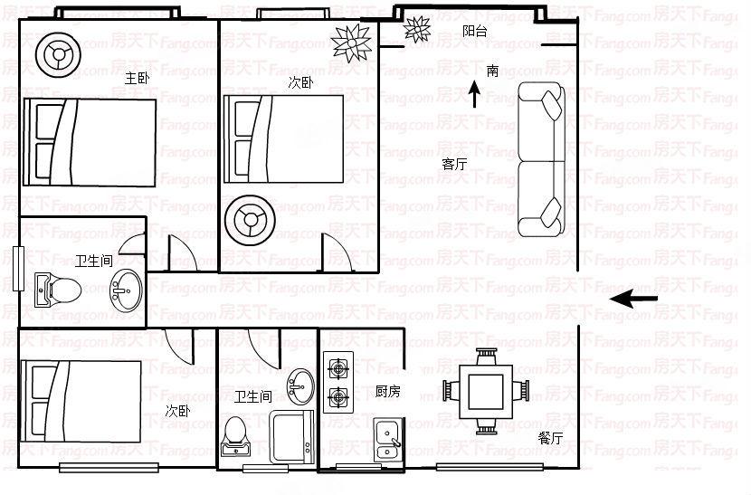 实验小学旁,太昊路南三室两厅两卫,有证可按揭,看房有钥匙!