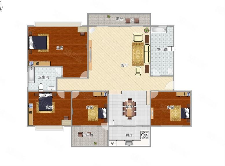 盛德花园143平四房,南北通透,有钥匙,双证齐全,可以贷款。