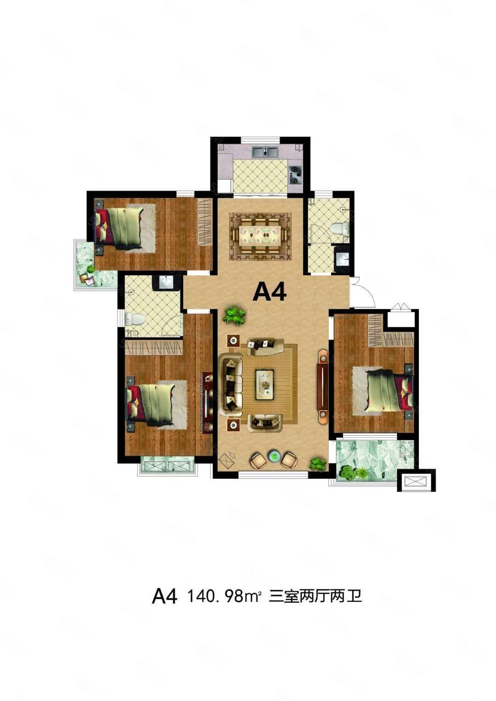 出售御水华庭花园洋房4楼141平,3室2厅2卫,正常分期