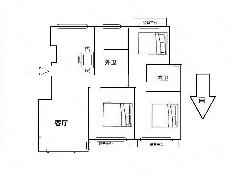 湖东花苑电梯6楼127平带自210万3室2厅毛坯