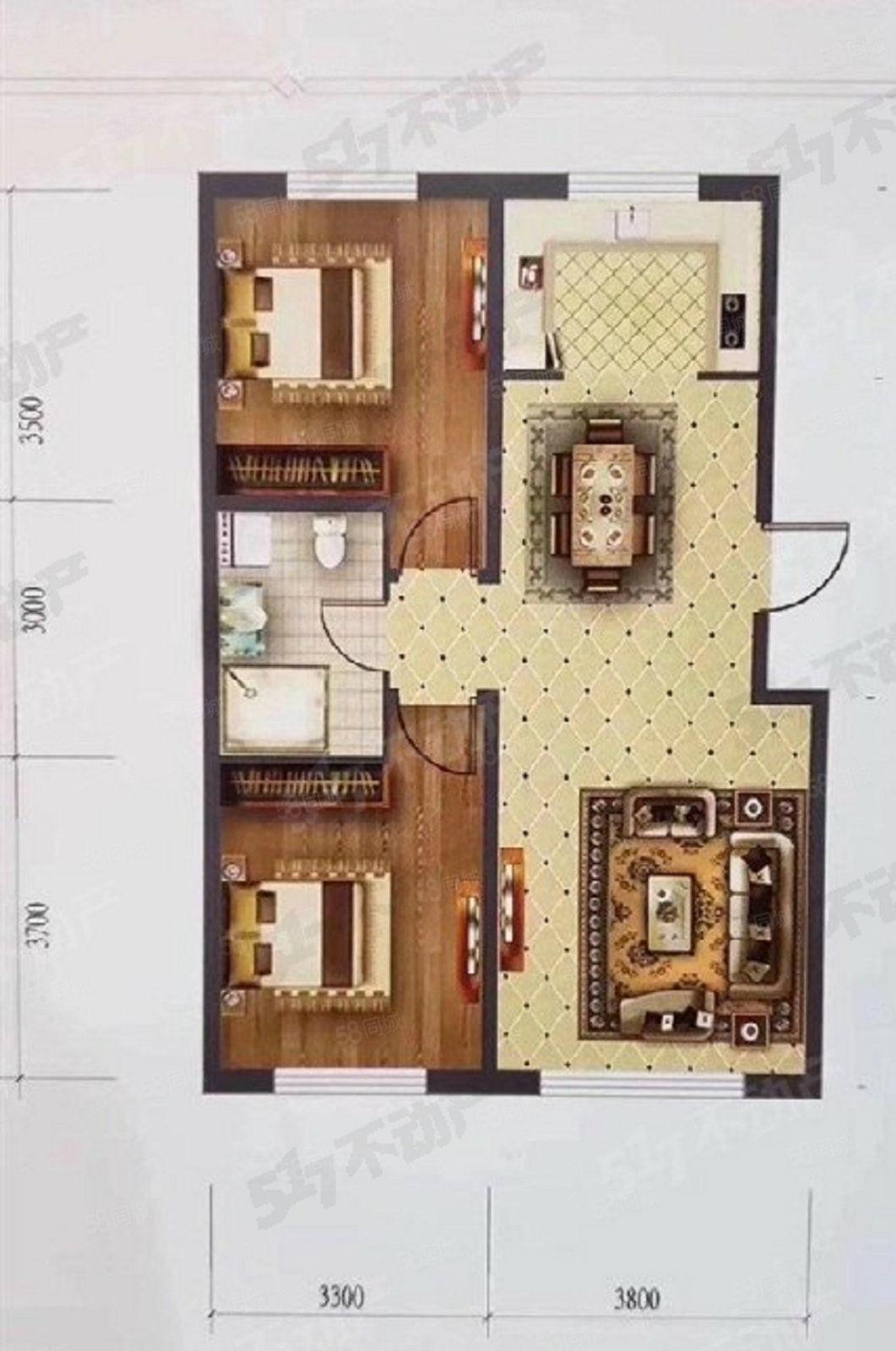 大禹城邦毛坯7楼95平60.5万一手房源可更名可贷款