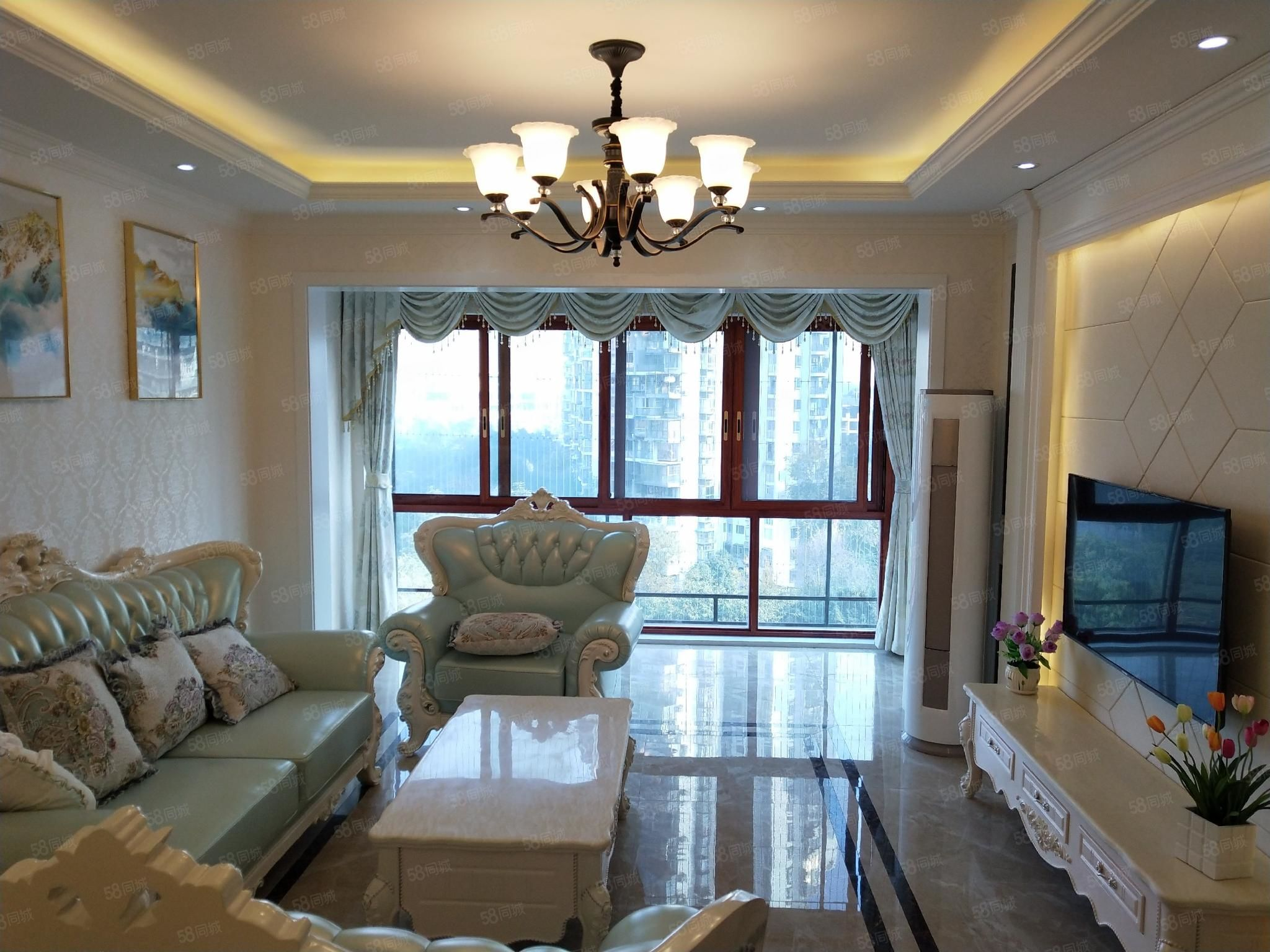 城西江阳公园对面天瑞全新豪装四室大阳台看公园过两年
