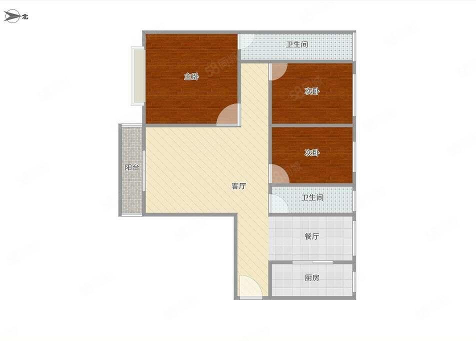 公园里3房2卫,总价42万得三房,使用面积113平方