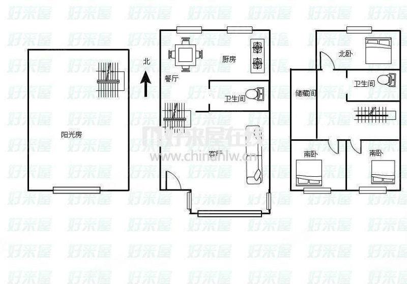 柏林印象4室2厅2卫联排别墅带小院阳光房阁楼车库