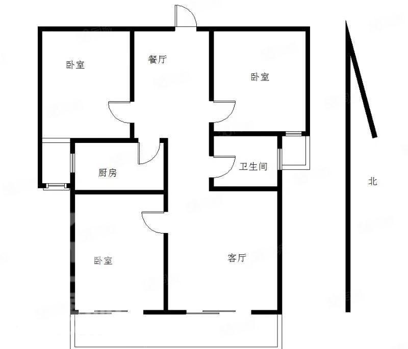 中央公馆毛坯房三居室采光超棒户型方正双阳台随时看房