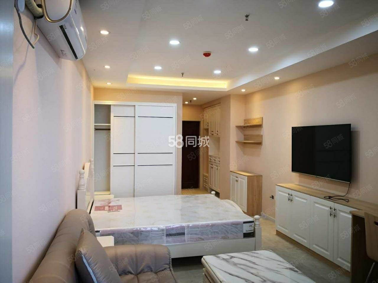盛世国际1室电梯公寓精装修全新家具家电拎包入住有暖气有网线