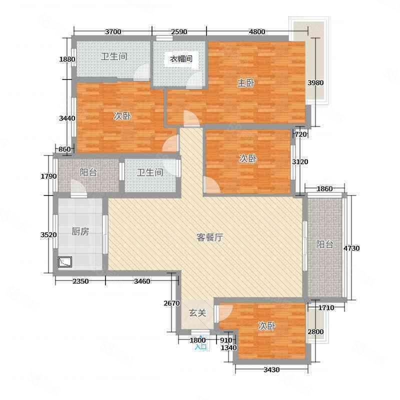 碧桂园电梯房4室2厅2卫3卧客厅都朝阳