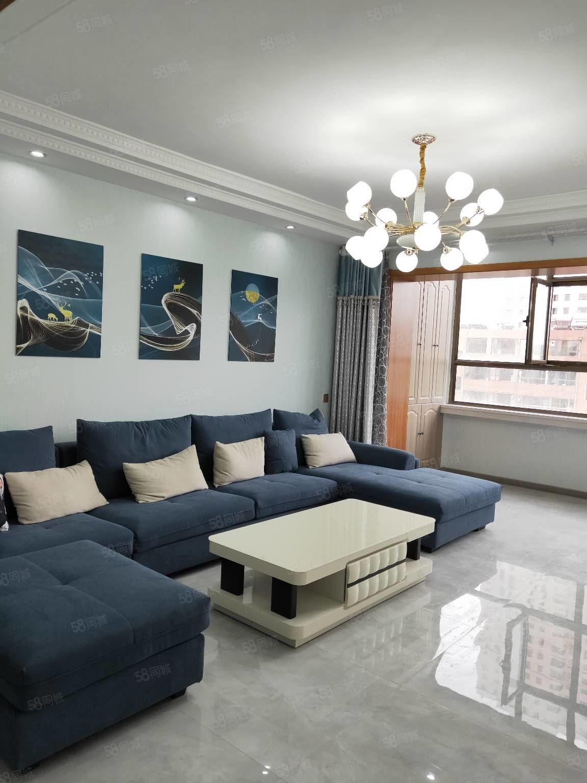首付15万.一中对面110平米白色精装地暖房送家具.急售
