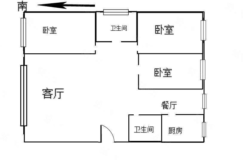 大河家園3室2廳2衛毛坯房房東賤賣