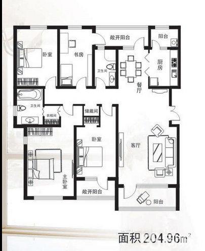 开发区别墅区205平大平层4室2厅2卫205平米