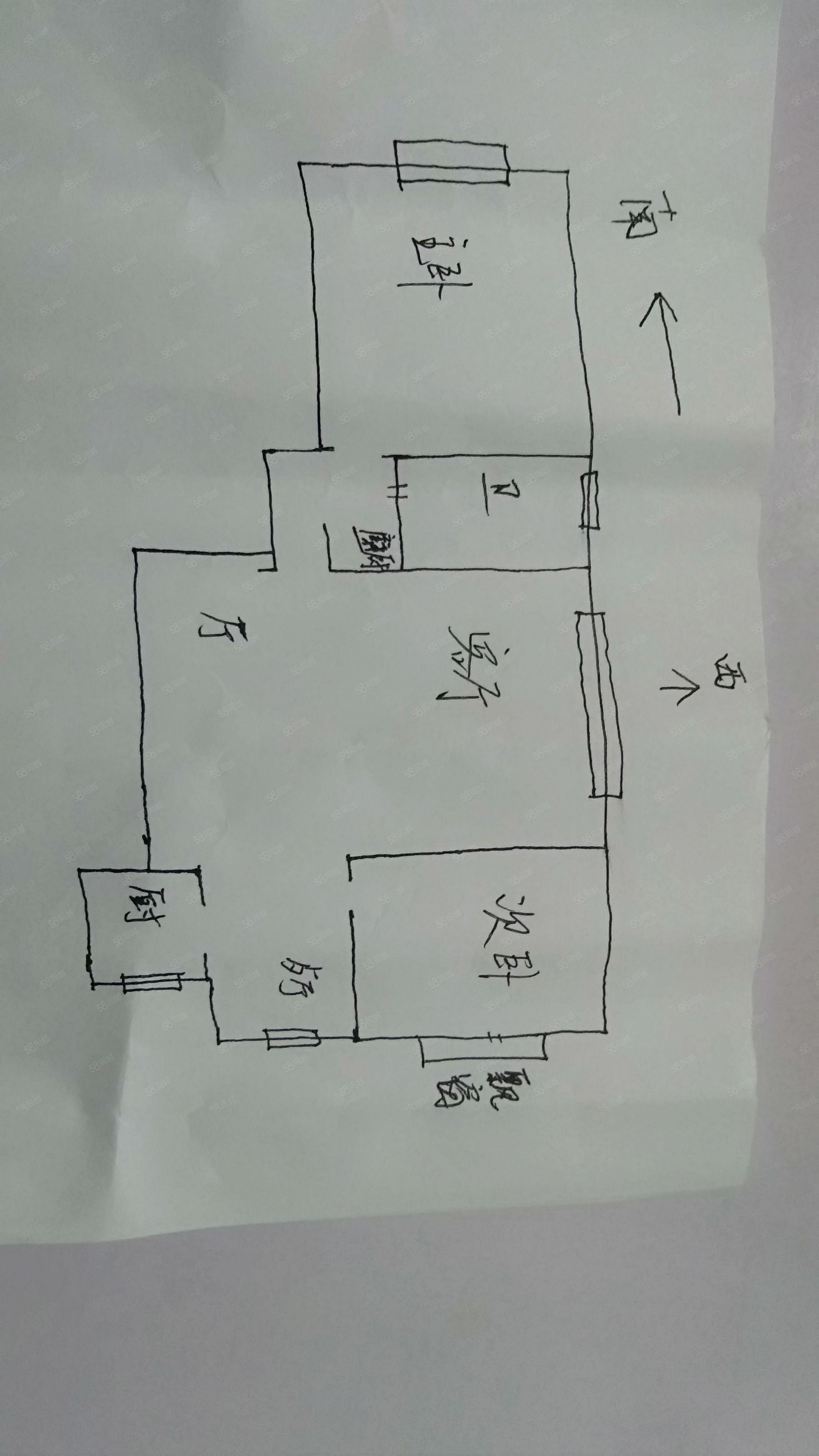 长江路中华西路永和嘉园2室3厅边户,可改成3室2厅无税可贷款
