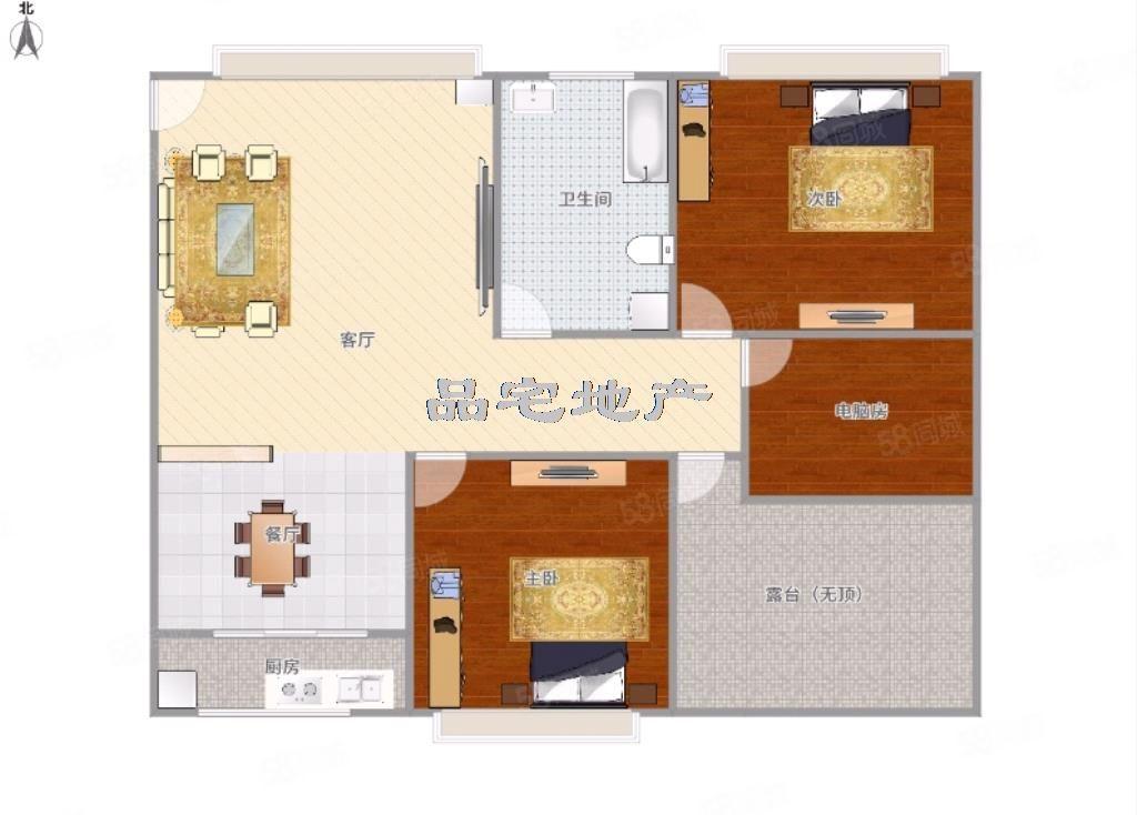 君悦华庭110平使用面积出售可以改三房,新装修,中间楼层