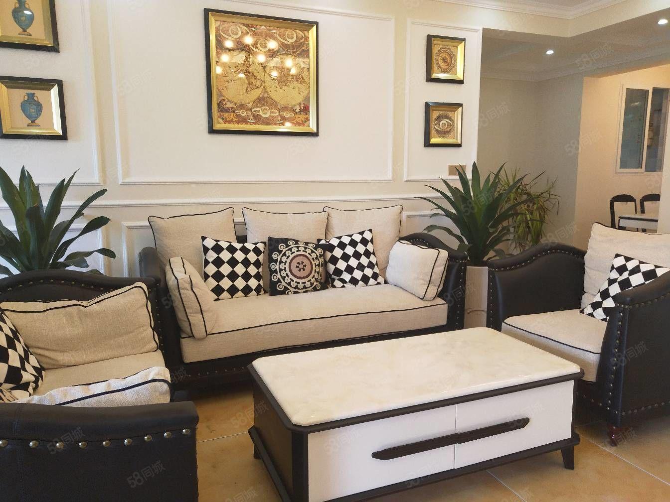 江南新区精装大三室全新家具家电正对中庭户型方正