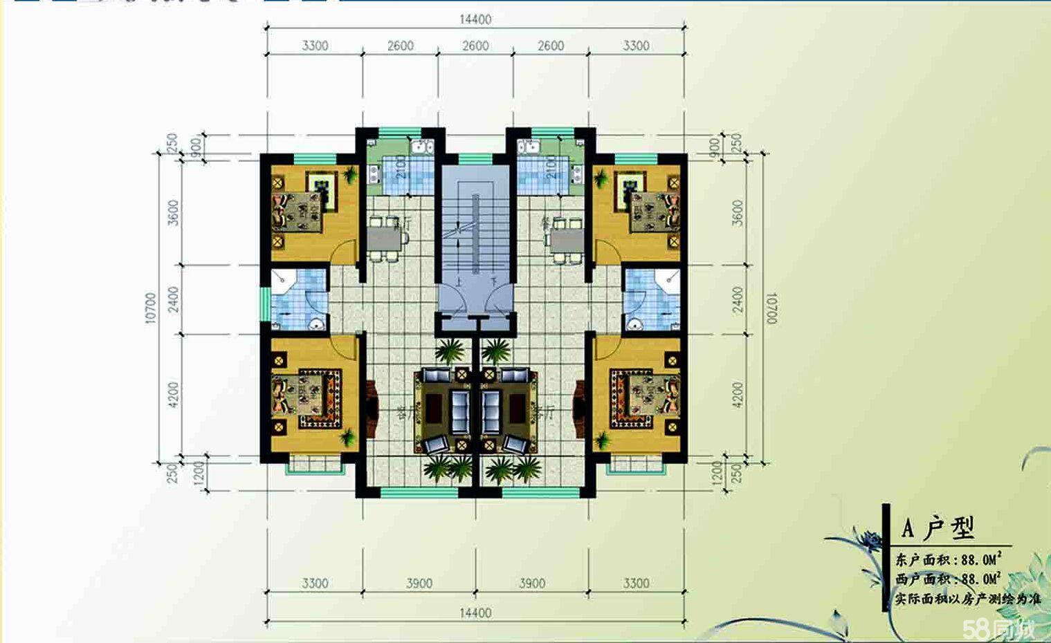 卓资滨河佳苑2室2厅1卫88平米