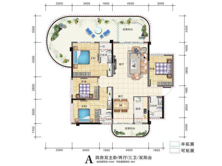 老城镇清凤黄金海岸4室2厅2卫102平米