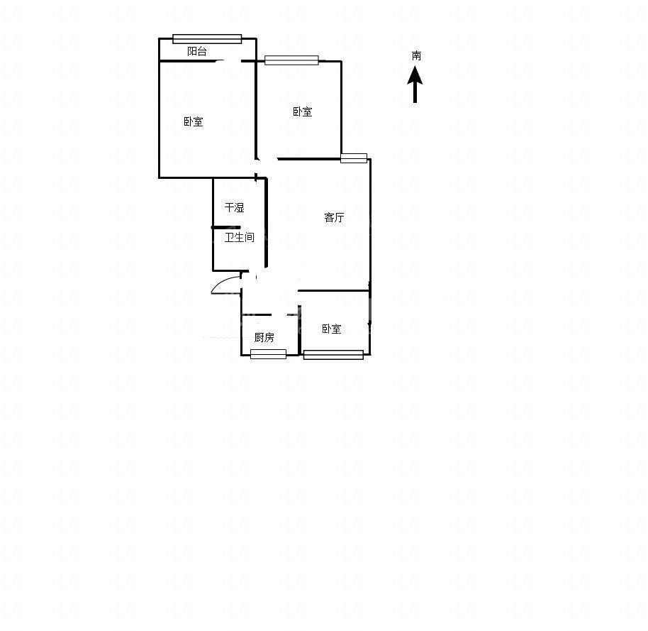 三室两厅一卫 户型方正南北通透